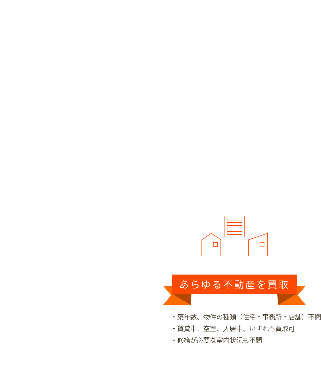 強み3:あらゆる不動産を買取。築年数、物件の種類(住宅・事務所・店舗)不問。賃貸中、空室、入居中、いずれも買取可。修繕が必要な室内状況も不問。